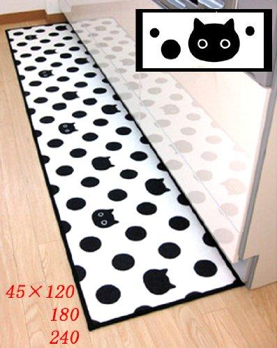 ドット ネコ柄 キッチンマット 45×240cm