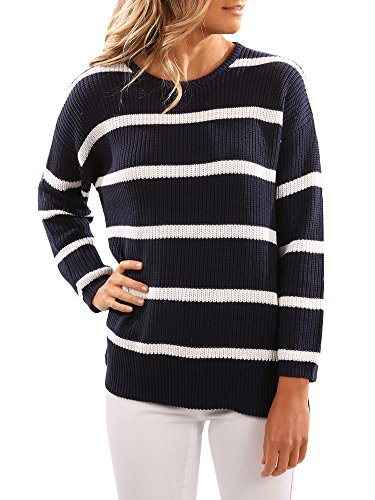 SUNMMWERY Women Striped Long Sleeve Round Neck Pullover Sweater Jumper,Navy Blue,Small