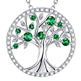 Christmas Jewelry Gifts for Women Green Emerald Necklace Tree of Life Jewelry Birthday Mom Wife May Birthstone Sterling Silver