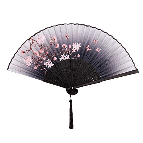 YJZQ Eventail de Poche Eventail de Spectacle Eventail en Tissu du Soie Artificiel Cadeau Décoration Motif de Papillons Fleurs Prune Blanche Sakura Cadeau de Mariage