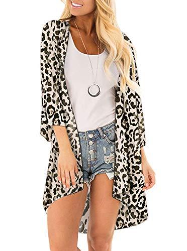 SHEKINI Mujer Blusa Damas Chal Ropa de Playa Ropa de Playa Bohemia Impresa Suelta (XL, Leopardo)