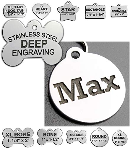 Stainless Steel Custom DEEP Engraved Pet ID Tags Personalized Front and Back Dog Tags for Dogs and Cats (Round 1-1/4'x1-1/8 (2-Side Engraving))