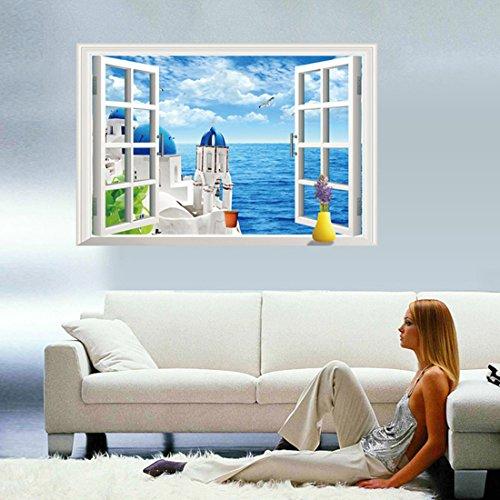3d finta finestra stile mare Scenery parete in pvc adesivo rimovibile in salone camera da letto Cucina Art Picture Murals per porta/finestra decorazioni + 3d rana regalo adesivo per auto