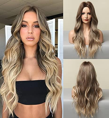 LEMEIZ Pelucas de Ombre marrón para mujer, pelo sintético rubio ondulado Ombre peluca, peluca larga sin pegamento con aspecto realista, 22 pulgadas LEMEIZ-166