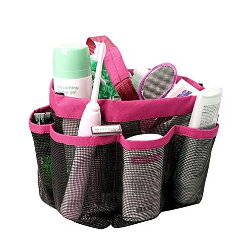 Portable Mesh Shower Caddy Tote with 8 Large Pockets  Quick Dry Hanging Bath Toiletry Storage Organizer Bag for College Dorm Travel Gym Beach Camping with Lace Masquerade Masks  Red