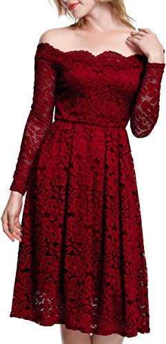 Meyison Damen Vintage 1950er Off Schulter Spitzenkleid Knielang Festlich Cocktailkleid Abendkleid Rockabilly Kleid Rot-L