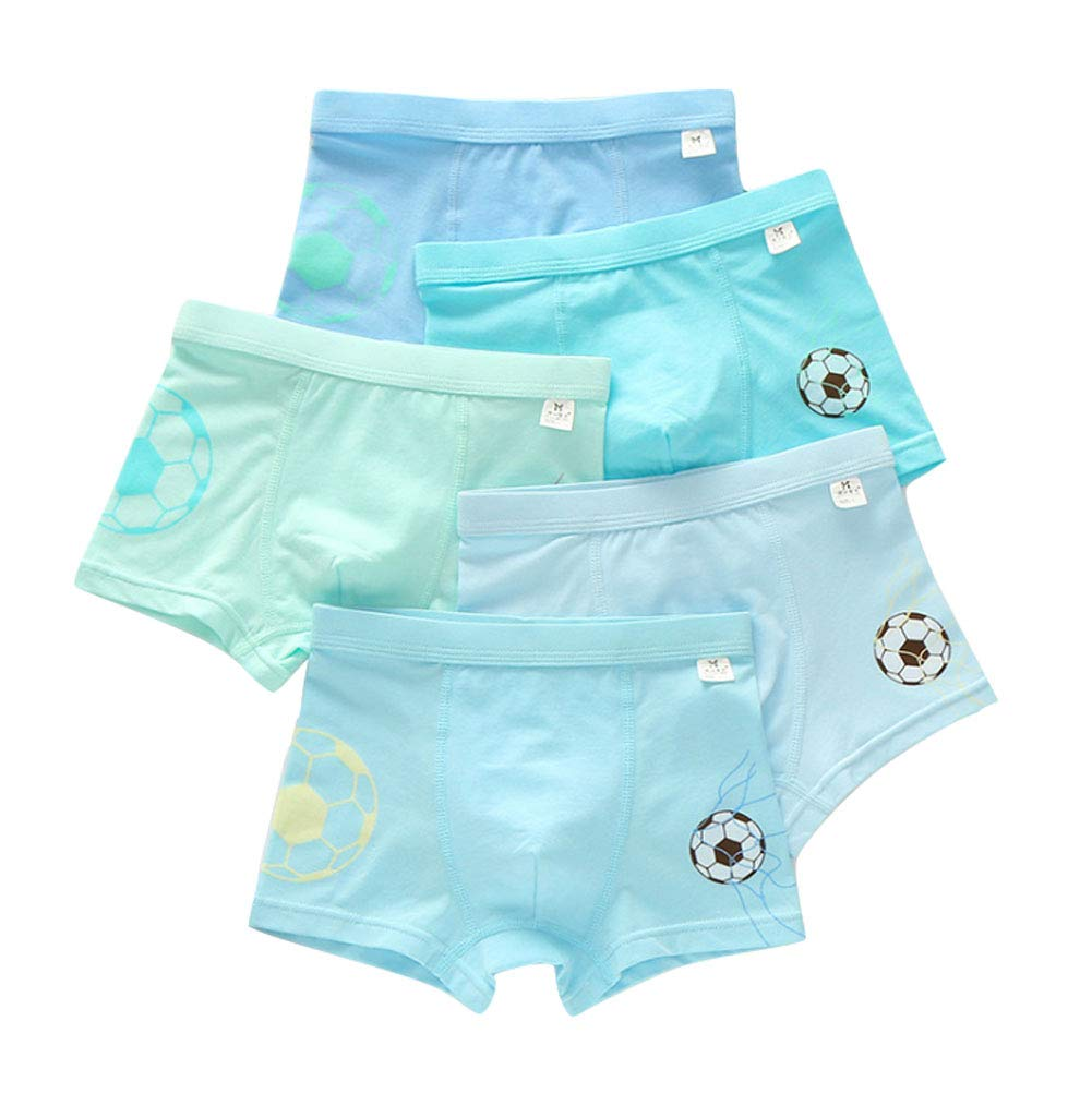 Age 2-8 Boys Cotton Blue Underwear Soccer Boxer Shorts for Toddlers