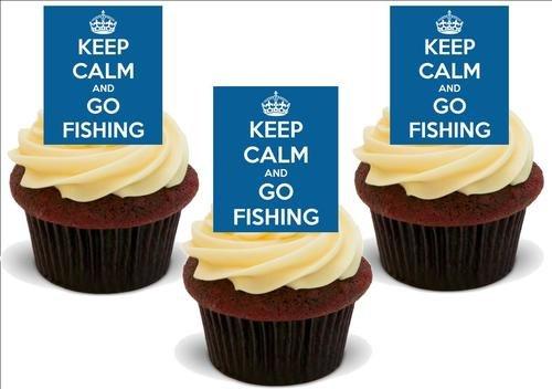 Blau HALTEN SIE RUHE & GO ANGELN - 12 essbare hochwertige stehende Waffeln Kuchen Toppers, Blue KEEP CALM & GO FISHING - 12 Standup Premium Wafer Cake Toppers
