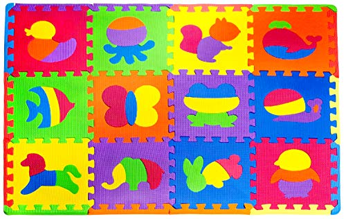 Foam Floor Mats for Kids – Baby Play Mat – Animal Puzzle Mat – Baby Foam Mat with Animals – Soft, Reusable, Easy to Clean, Non-Toxic
