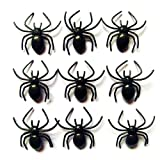Arañas de Halloween 100 piezas pequeñas de plástico negro falsas arañas juguetes realistas Halloween aterrador decorativo