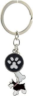 Key-Ring Keychain,Cute Metal Small Dog Puppy Keychain Keyring Keyfob Car Bag Charm Dog Tag Chains Birthday Christmas Gift Small Black Schnauzer