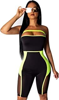 Women Sexy Mesh Short Jumpsuits - Bodycon Rompers Sleeveless Club Outfits