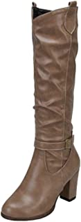 MisaKinsa Women Vintage Slouchy Boots Buckle Strap High