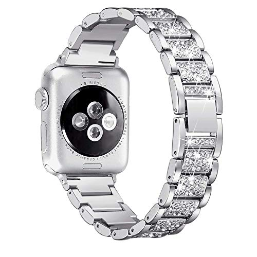 Myada Kompatibel mit Armband für Apple Watch 44mm Series 5 Metall Glitzer Damen, Armbänder Apple Watch 42mm Series 3 Edelstahl Armband iWatch 44mm Series 4 Ersatzband für Apple Watch 42mm/44mm