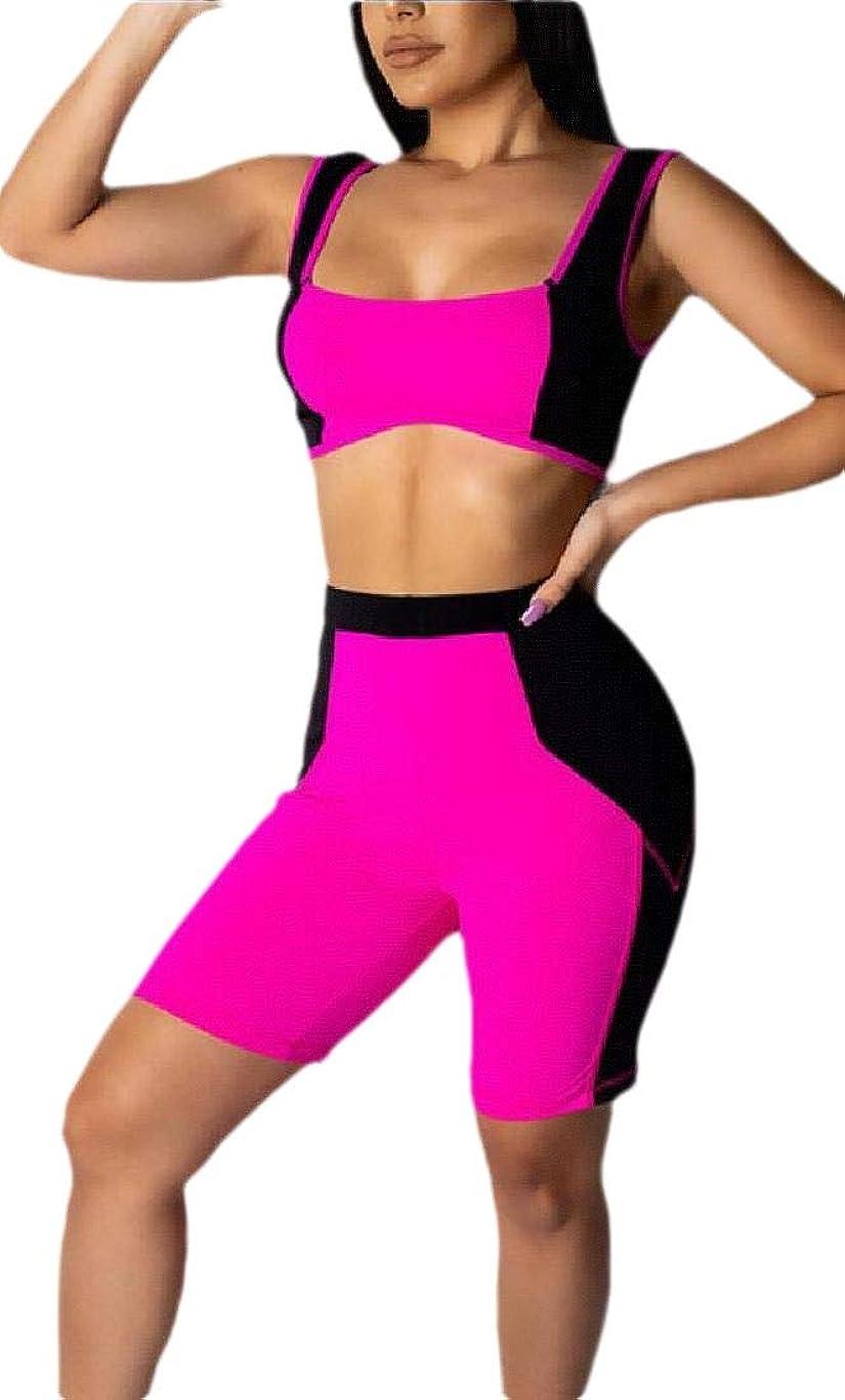 精神休戦懲戒Women Outfit Active Color Block Tank Tops and Shorts Jumpsuits 2 Piece Set
