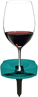 Outdoor Wine Glass Holder by Bella D'Vine for Stemless & Stemmed Glasses, Comes with a Wine Stake for Picnics, Grass, and Sandy Beaches, Fun Wine Gift in Marine Blue
