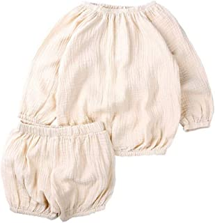 JELLYKIDS Baby Cotton Linen Clothes Infant Toddler Boy Girl Long Sleeve Shirt Top + Bloomer Shorts Autumn Outfits Set