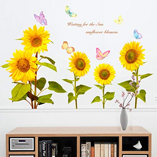 DIY Sunflower and Butterfly Wall Decal, LASZOLA Removable 3D Watercolor Plant Leaf Sun Quotes Wall Sticker Home Nursery Decor Art Murals Paper Decoration for Bedroom Living Room Bathroom