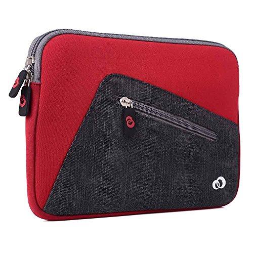 Kroo 27,9cm Neopren Convertible Sleeve für Tablet, Laptop, Hybrid mit Reißverschlusstasche vorne rot rot