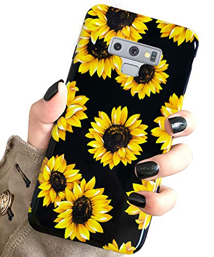 Galaxy Note 9 Case Vintage Flower Floral,J.west Cute Yellow Sunflowers Black Soft Cover for Girls/Women Sturdy Flexible Slim fit Fashion Design Pattern Drop Protective Case for Samsung Galaxy Note 9