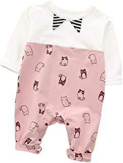 Fairy-Baby Unisex Children's Long Sleeve Autumn Romper Kids Casual Playwear with Adorable Catoon Kitty Printing Pattern Toddler Cotton One-Piece Bodysuit (Color : Pink, Size : 66cm)