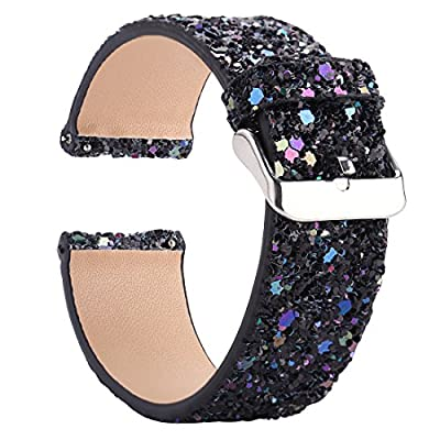 Moonooda Watch Band Compatible for Fitbit Versa/Versa Lite Edition/Versa SE Smart Watches Band Bling Glitter,Replacement Wristband Leather for Women Men, Sparkle Strap for Smartwatch Versa