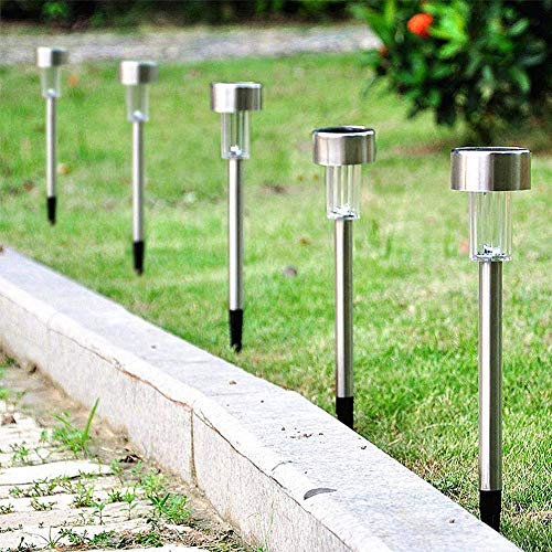 Bakaji Set 10 Lampade da Giardino LED Ricarica Solare Impermeabili Altezza 30 cm Paletti Luci per Sentieri Segnapasso Illuminazione per esterno Crepuscolare Design Moderno Colore Silver