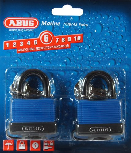 ABUS 70IB/45 C KAx2 Blue All Weather Solid Brass Body Padlock with Weather Cover and Stainless Steel Shackle, Keyed Alike Set of 2