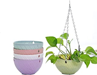 Hanging Planters Set of 5 Flower Pots Indoor Outdoor Planting or Storage,Succulent Plants or Water Plants Garden Planters for Plants,Self-Watering Flower Pot Container -with Chain (5 Colors)