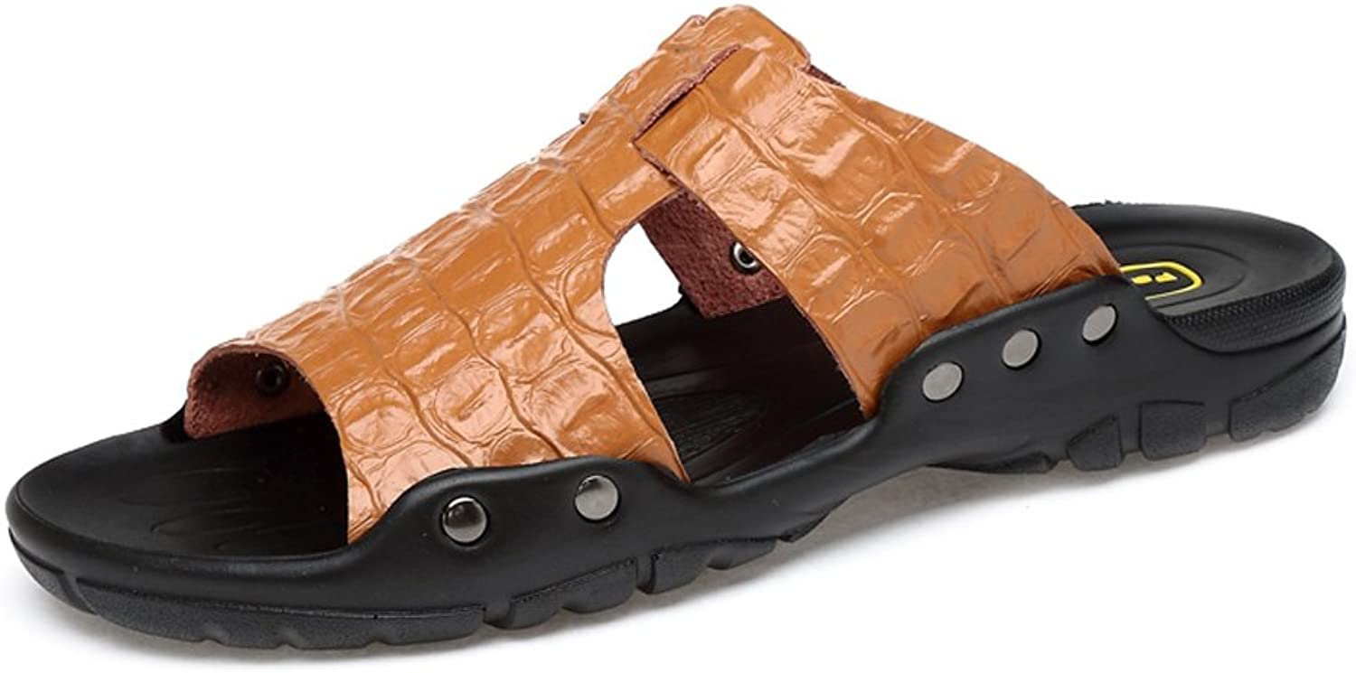 ANNFENG Fashion Summer Outdoor Casual Lightweight Men's Genuine Leather Beach Slippers, Elegant Business Faux Crocodileskin Texture Non-slip Sandals (color   Brown, Size   10.5 UK)