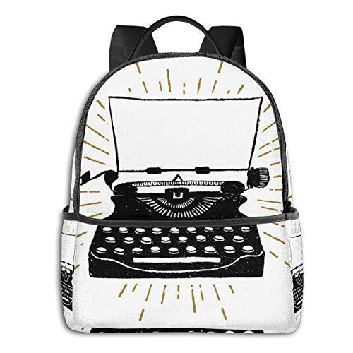 Rucksack Freizeit Damen Herren, 90er Schreibmaschine 80er Jahre Campus Kinderrucksack, Daypack Schulrucksack Sportrucksack Tablet Tasche 15,6 Zoll