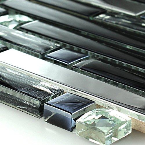 Edelstahl Glas Mosaik Fliese Diamant Schwarz Mix - 1 Matte