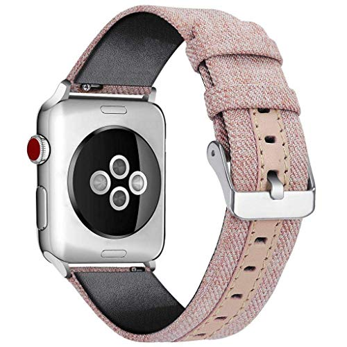 THj Correa de Reloj Apple Compatible 38 mm 42 mm 40 mm 44 mm, Lona Tejida Nylon Correa de muñeca de Repuesto Compatible con iWatch Series 4/3/2/1, B, 38MM