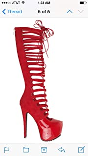 Wings-s Lace up Cut Out Booties Red