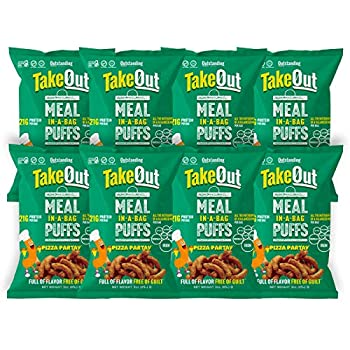 TakeOut High Protein Meal In A Bag Puff Snacks | Plant Based Vegan Certified Kosher Gluten Free | Pizza Partay 3oz Bag 8 Pack