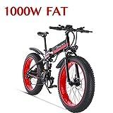 1000W Bicicleta eléctrica para Hombre Mountain Mountain Ebike 21 Velocidades 26 Pulgadas Fat Tire Road Bicycle Beach/Snow Bike con Freno de Disco hidráulico y Horquilla (Rojo)