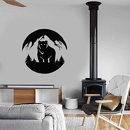WERWN Decalcomanie da Muro Paesaggio di Montagna Orso Grizzly Foresta predatore Vinile Adesivi per finestre Camera da Letto per Bambini vivaio Decorazione d'interni