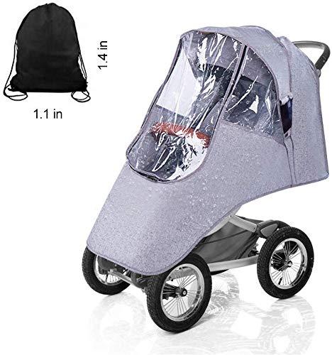 VDROL Kinderwagen Regenschutz, Universal Kinderwagen Reisewetter Schild, Regenschutz für Buggy, Easy In/Out Zipper, Gute Luftzirkulation, Schadstofffrei, Wasserdicht, Winddicht (Grau)