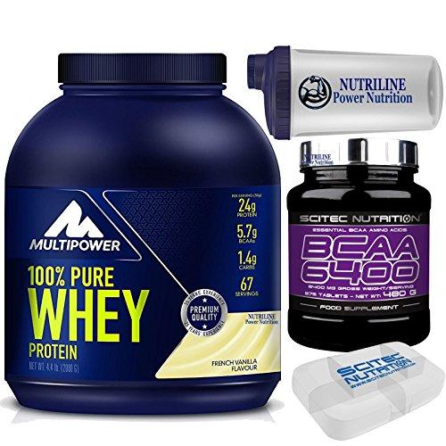Multipower Pure Whey Protein 100% 2000 gr 2 kg Vaniglia - Proteine del Siero Del latte + 375 bcaa 6400 Aminoacidi Ramificati + Shaker Nutriline e Portapillole Scitec Nutrition