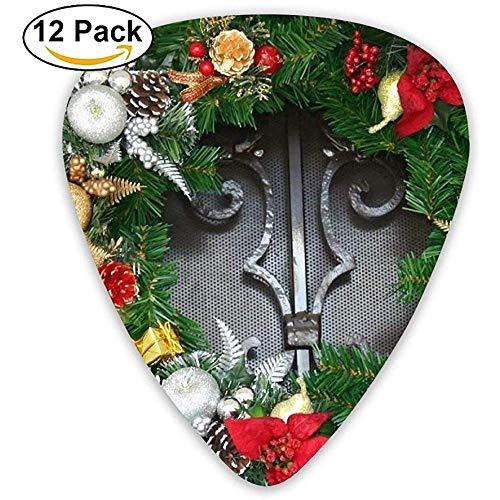 Slinger van grenenhout, bloemen, decoratie voor feesten, Kerstmis, gitaar, pick, 12 stuks