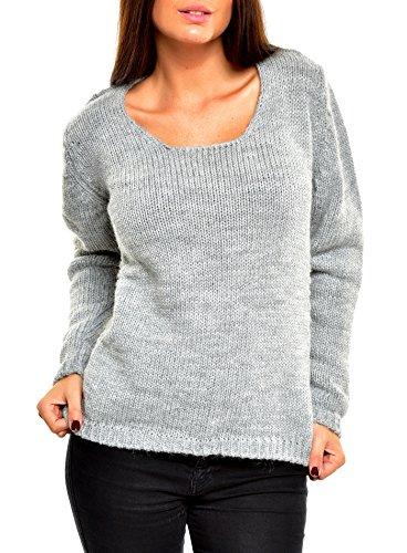Tazzio Pullover Damen Winter Strickpullover TZ-901 Grau S