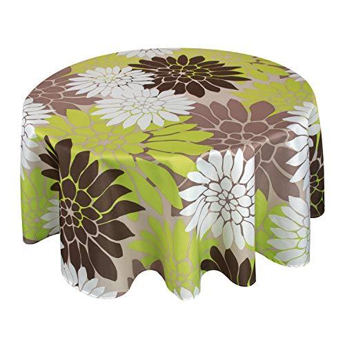 Valia Home Tischdecke Tischtuch Tafeldecke schmutzabweisend wasserabweisend Lotuseffekt pflegeleicht eckig in verschiedenen Größen und Designs (Blume, rund 140 cm)