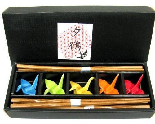 JapanBargain, Set mit 5 Bambus-Essstäbchen und Porzellan-Kran-Essstäbchenhalter, Geschenk-Set