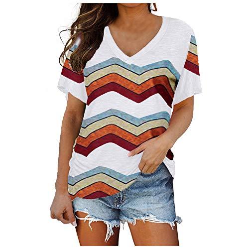 T-Shirt Pullover Damen Sommer Kurzarm V-Ausschnitt Tee Tops mit Seitlicher Shirring Bluse Oberteile Shirt