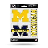 NCAA Rico Industries  Die Cut 3-Piece Triple Spirit Sticker Sheet, Michigan Wolverines
