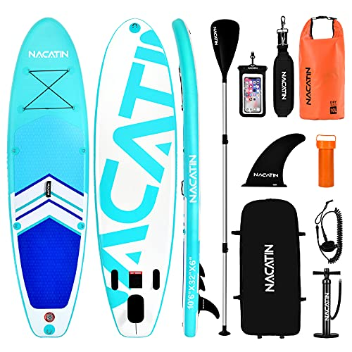 NACATIN Paddle Boards for Adults, Inflatable Stand Up Paddle Board Upgrade Version 10′ 6″ SUP...