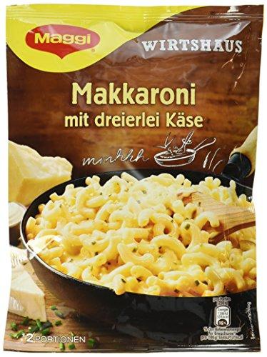 Maggi Wirtshaus Makkaroni mit dreierlei Käse, 170 g Beutel, ergibt 2 Portionen, 12er Pack (12 x 170g)