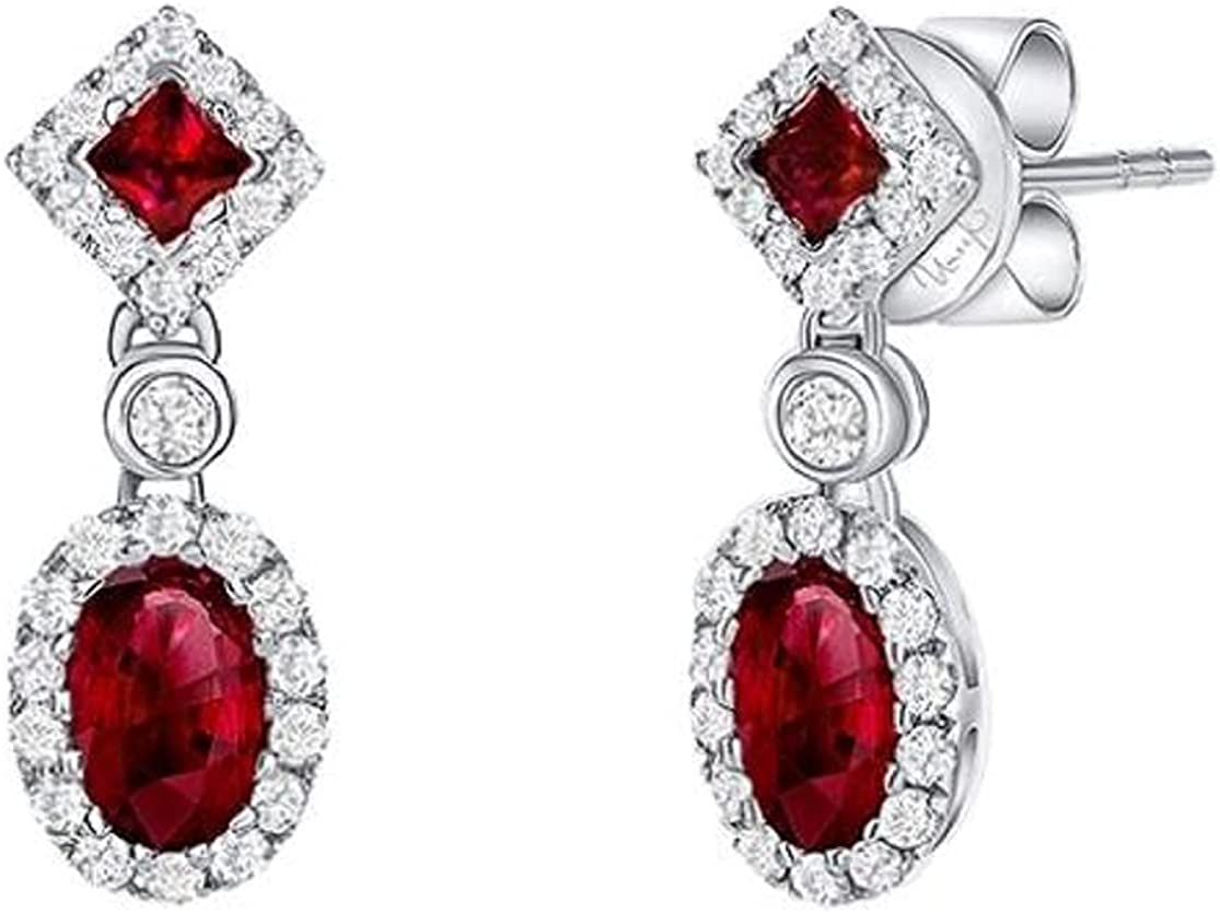 1.50 CT Princess 2021new A surprise price is realized shipping free Oval Shape Created Earrings Red Ruby 14k Drop
