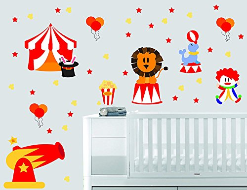 Circus Stars Luftballons Hut Löwe Tierserie Baby Junge Mädchen Wandtattoo Kinderzimmer für Zuhause Schlafzimmer Kinder