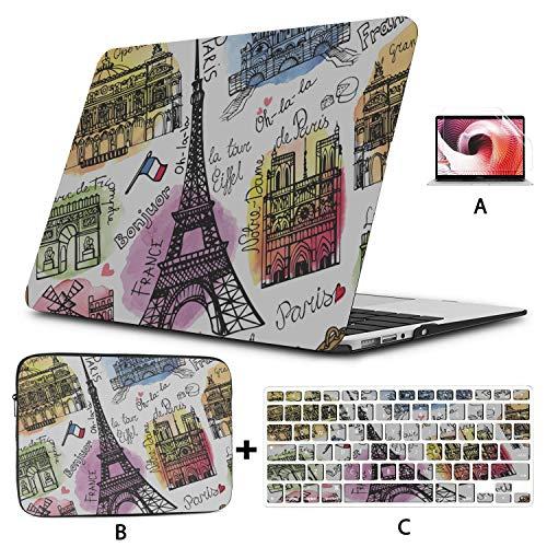 MacBook Pro 2017 Cover Paris Landmark Eiffel Tower Arc De Triomphe Cover MacBook Air Hard Shell Mac Air 11'/13' Pro 13'/15'/16' with Notebook Sleeve Bag for MacBook 2008-2020 Version